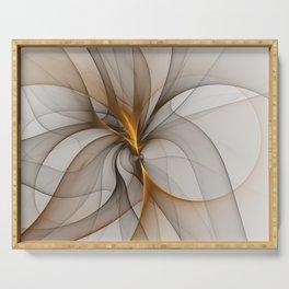 Elegant Chaos, Abstract Fractal Art Serving Tray