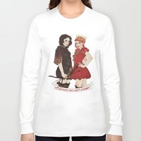 arya Long Sleeve T-shirts featuring A Queen & her Knight by Noble Demons