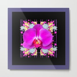 Purple & Fuchsia Pink Butterfly Orchids On Black Floral Art Metal Print