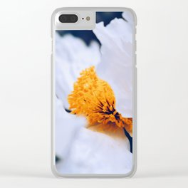 Fluttering White Poppy Clear iPhone Case