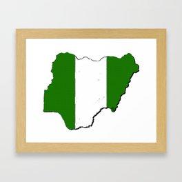 Nigeria Map with Nigerian Flag Framed Art Print