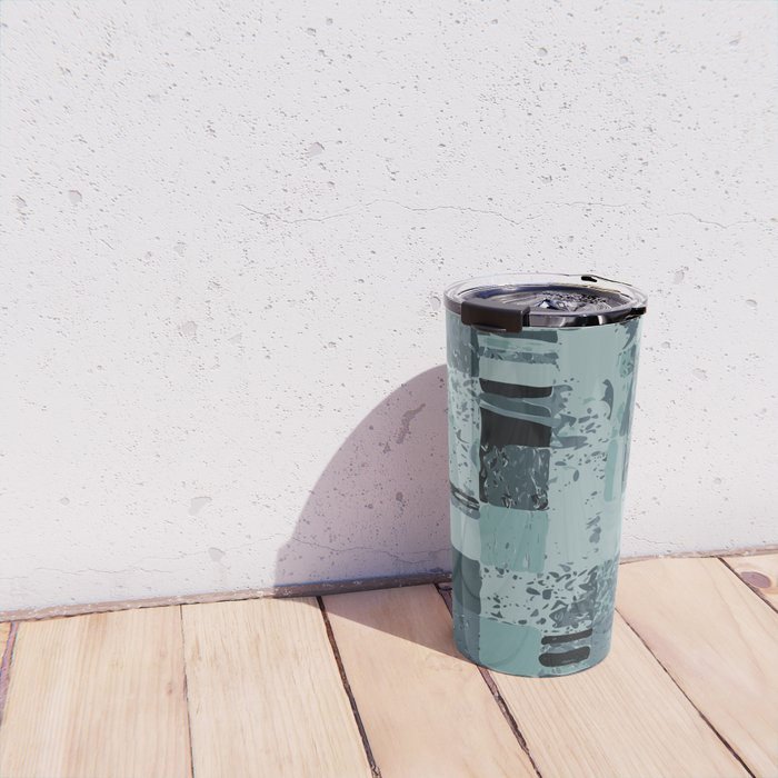 Modern Linear Ocean Sky Blue Squares Fusion Tailored Opulant Architectural Elegant Custom Travel Mug