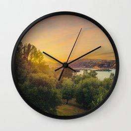 Clear Lake Sunset   Lake County California Landscape Sunset Travel Photography Wall Clock