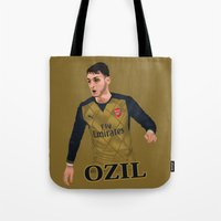 arsenal Tote Bags featuring Mesut Özil by siddick49