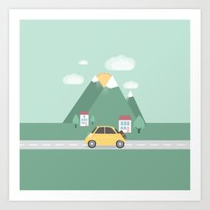 Little Yellow Car Art Print