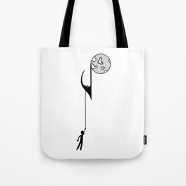 Man hanging on a musical note Tote Bag