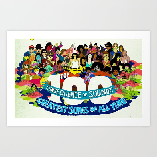 """Top 100 Greatest Songs of All Time"" by Steven Fiche Art Print"