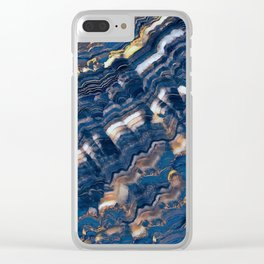 Blue marble with Golden streaks Clear iPhone Case
