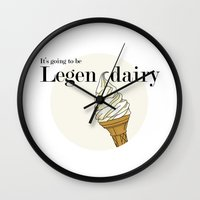 how i met your mother Wall Clocks featuring Legendairy - How I Met Your Mother by Tamsin Lucie