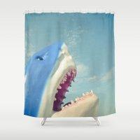 shark Shower Curtains featuring Shark! by Cassia Beck