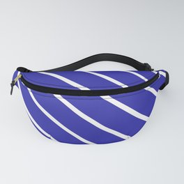 Diagonal Lines (White & Navy Pattern) Fanny Pack