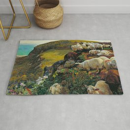 "William Holman Hunt ""Our English Coasts (Strayed Sheep)"" Rug"