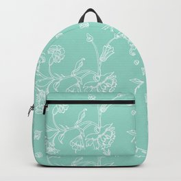 white flowers on blue background ( https://society6.com/totalflora/collection Backpack
