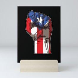 Puerto Rico Fist   Proud Boricua Flag Mini Art Print