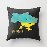 ukraine Throw Pillows featuring Ukraine Vintage Map by Finlay McNevin