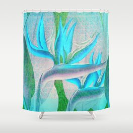 Floreal - Tropical Flowers Daydream Pastel Mint Shower Curtain
