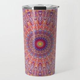 Purple Orange Red Burst Mandala 012018 Travel Mug