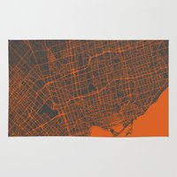 toronto Area & Throw Rugs featuring Toronto Map by Map Map Maps