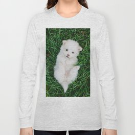 Fluffy White Cute Puppy Long Sleeve T-shirt