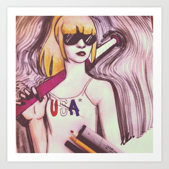 USA woman Art Print