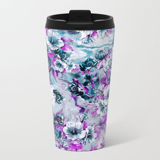 Frozen Flowers IV Metal Travel Mug