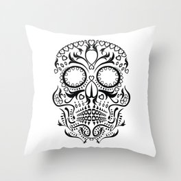 Day of the Dead Skull - Hearts Throw Pillow