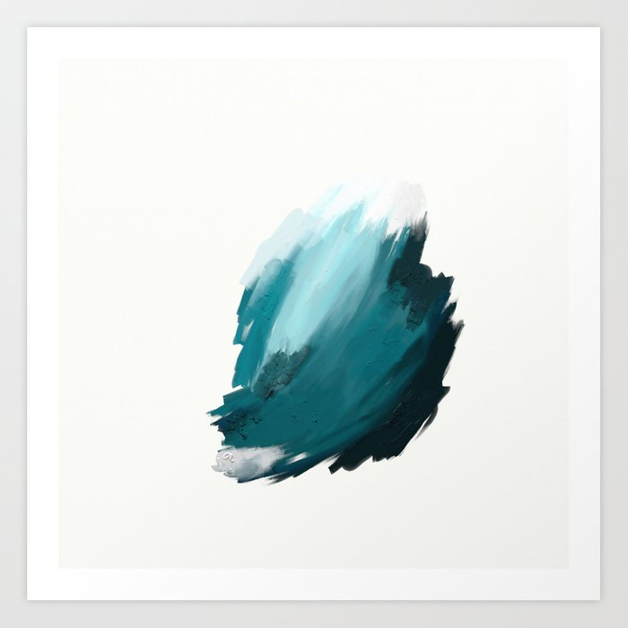 Deep Dark Aqua and White Abstract Painting Home Decor Wall Art by ...