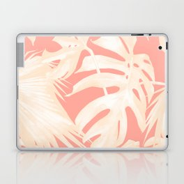 Tropical Coral Pink Palm Leaf Pattern Laptop & iPad Skin