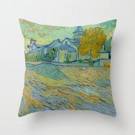 """Vincent van Gogh """"Vue de l'asile et de la Chapelle de Saint-Rémy"""" Throw Pillow"""