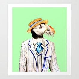 Mr Puffin Art Print