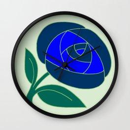 Retro Seventies style rose flower blue Wall Clock
