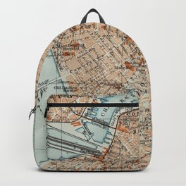 Vintage Map of Boston MA (1906) 2 Backpack