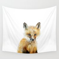 wildlife Wall Tapestries featuring Little Fox by Amy Hamilton