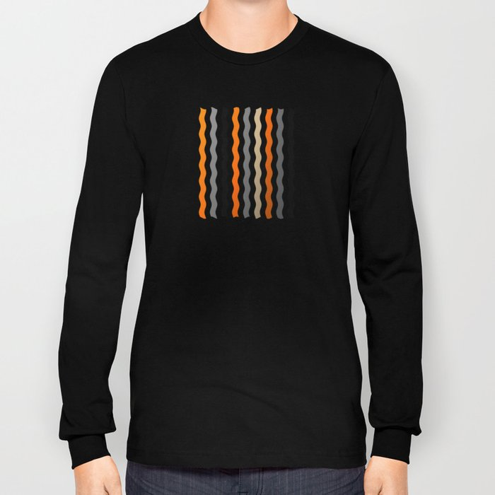 Vertical Waves - Metallic Gold, Silver and Black Vertical Wavy Stripes Long Sleeve T-shirt