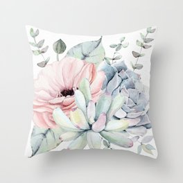 Pretty Succulents 2 by Nature Magick Throw Pillow