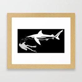 Scuba Diver Swimming With Tiger Shark Framed Art Print