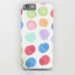 Colorful trendy colors large watercolor polka dots iPhone Case