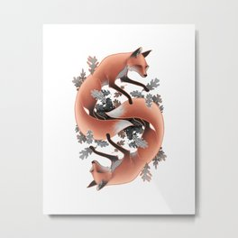Foxes Chasing Tails Metal Print