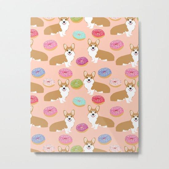 Corgi donuts cute junk food welsh corgi puppy gifts for dog person pet portrait must have dog art Metal Print