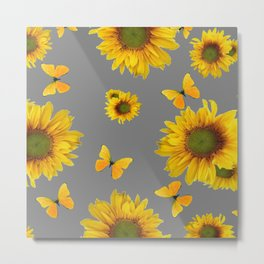 Fluttering Yellow butterflies Sunflowers Grey Pattern Art Metal Print
