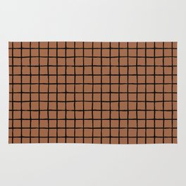 Geometric raster minimal raw brush strokes grid pattern copper Rug