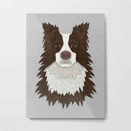 Border Collie - red Metal Print