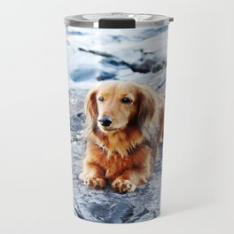 Red longhaired dachshund on waterfront cliff Travel Mug