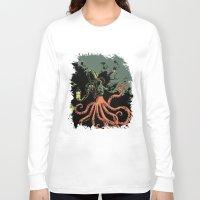 scuba Long Sleeve T-shirts featuring tentacle scuba by Sarah Baslaim