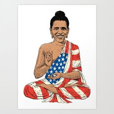 Buddha Obama Art Print