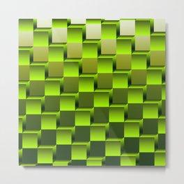 Soft green gradient cubes Metal Print