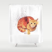 ginger Shower Curtains featuring Ginger Cat by Caroline Fogaça