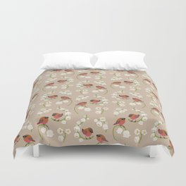 Brown-capped rosy finch Duvet Cover