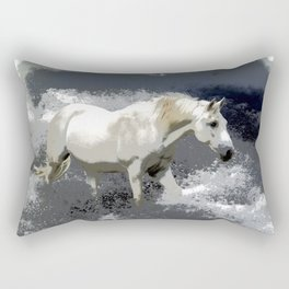 """""""AT ONE WITH THE SEA""""  White Horse In the Surf Rectangular Pillow"""