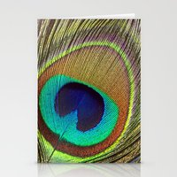 peacock feather Stationery Cards featuring Peacock Feather by Kim Bajorek